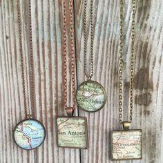 Custom map pendant/vintage map pendant/ooak map pendant/custom map necklace/vintage map necklace/wearable keepsake/ you choose map pendant