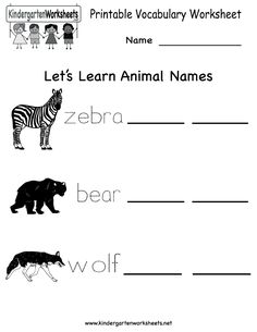 printable kindergarten worksheets | Printable Vocabulary Worksheet - Free Kindergarten English Worksheet ...