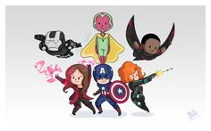 New Avengers lineup - War Machine, Vision, Falcon, Scarlet Witch, Captain America, and Black Widow.