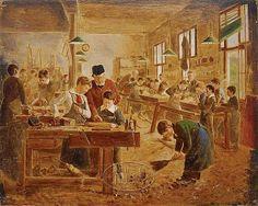 """""""The shop class"""". Auguste Joseph Truphème (1836-1898), French painter."""
