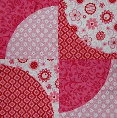 a drunkards path variation block for Leanne and Cathi by dutchcomfort, via Flickr