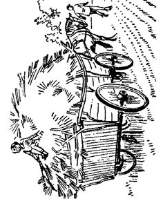 Farm equipment coloring page | Farm Horse Drawn Hay Wagon