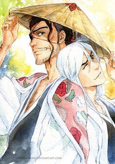 These two are my favourite captains! Shunsui Kyoraku & Jushiro Ukitake - Bleach,Anime