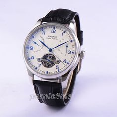 43mm Parnis Automatic Movement Wristwatch Power Reserve White Dial Men Boy Watch #parnis #Casual