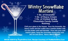 WINTER SNOWFLAKE MARTINI recipe on a Free Recipe Card - Click the image for the Full Sized, Print Quality Recipe Card!