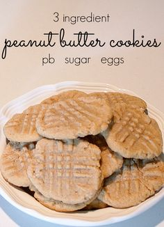 Easy peanut butter cookie recipe - no flour, just 3 ingredients: 1 Cup Peanut Butter, 1 Cup Sugar, 1 Egg, (opt: sugar for rolling cookies.) Mix the 3 ingredients together. Roll 1 tbsp of cookie dough into a ball. Roll in sugar if desired. Place dough balls on ungreased cookie sheet. Pat down with fork. Bake at 350 for 8 minutes.