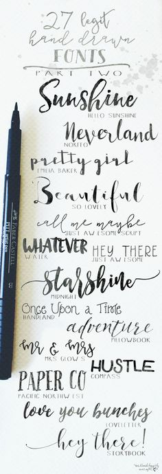 Creative Lettering: 27 Legit Hand Drawn Fonts to use in your bullet journal. Font Ideas for your Bujo Headers. Hand Drawn Fonts, Hand Drawn Typography, Hand Drawn Type, Japanese Typography, Hand Type, Cricut Fonts, Typography Fonts, Journal Inspiration, Style Inspiration