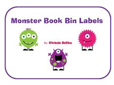 This is a set of 24 book bin labels with a cute monster theme.  Use these to organize your classroom library.  Includes a book label for the fo...