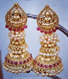 Imitation Pearl Jhumka From Orne Jewels ~ South India Jewels Jewelry Design Earrings, Gold Earrings Designs, Gold Jewellery Design, Ear Jewelry, Necklace Designs, Gold Jewelry, Antique Jewellery, Diamond Jewellery, Gold Necklace