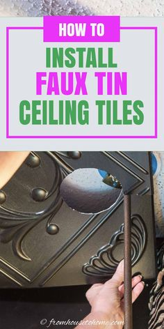 Learn how to install styrofoam faux tin ceiling tiles which add interest to your ceiling and can be used to cover imperfections (or popcorn ceilings). A great way to upgrade your room decor on a budget. #fromhousetohome #homedecor #roomdecor #ceilings #diydecorating  #diyhomedecor Faux Tin Ceiling Tiles, Tin Tiles, Covering Popcorn Ceiling, Removing Popcorn Ceiling, Ceiling Decor, Diy Wall Decor, Room Decor, Light Fixture Covers, Diy On A Budget