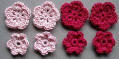 Häkelblumen, 2 Farben | Baumwolle, rosé, neonpink, 8 Stück