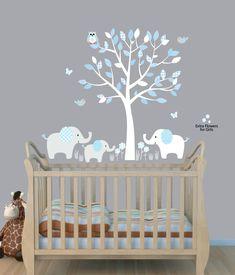 tree nursery sticker decal boys room wall decor elephant wall