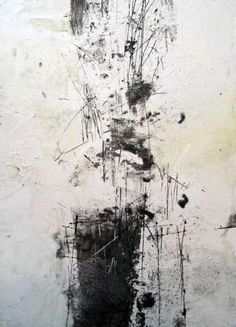 dailyartjournal: Yuko Wada, untitled, gesso, sumi, beeswax on board