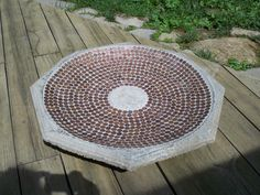 old bird bath + pennies + mortar + grout = new bird bath