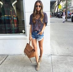 Pin for Later: The Fashion Girl's Secret to Dressing Up Denim Shorts Go For Boho