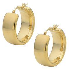 Oro Forte 14k Yellow Gold Polished Wedding Band Round Hoop Earrings