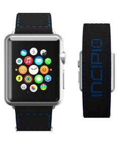 Sporty and colorful bands for Apple Watch with Incipio's Jacquard Stitched Velcro Band. Available now in Black/Navy.