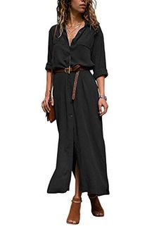 f4a53bf7da DOKOTOO Womens Casual Roll up Sleeve Button Down Maxi Shirt Dress Top Chic