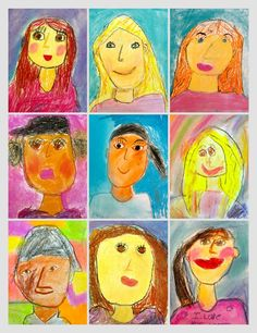 Deep Space Sparkle – Primary Portrait Project: Chalk Pastel and oil pastel Portraits For Kids, Pastel Portraits, Classroom Art Projects, Art Classroom, Art Pop, Kindergarten Self Portraits, First Grade Art, Grade 3, Second Grade