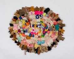"Mike Kelley, No title (from the series ""Half a Man""), ca. 2004 – 2006, stuffed animals, bells, canvas, © Mike Kelley Foundation for the Arts. Courtesy the Mike Kelley Foundation and Hauser & Wirth. Photo: Joshua White."