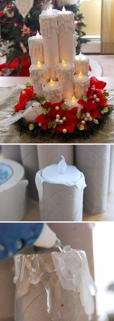 Create these magical recycled paper tube Christmas candles with just paper and toilet paper tubes and tulle ribbon rolls. Create these magical recycled paper tube Christmas candles with just paper and toilet paper tubes and tulle ribbon rolls. Noel Christmas, Christmas Candles, Christmas Centerpieces, Homemade Christmas, Simple Christmas, Christmas Lights, Christmas Ornaments, Christmas Ideas, Diy Christmas Decorations For Home