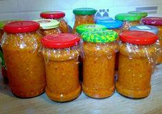 Erdélyi, krémes, padlizsános zakuszka recept foto Yummy Food, Tasty, Hot Sauce Bottles, Brunei, Pickles, Vegan, Canning, Recipes, Romania