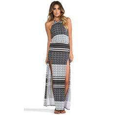 Blue Life Halter Two-Slit Maxi Dress #snapette