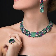 @yusef.bendriss Cartier TuttiFrutti collection. Just unique! #cartier #tuttifrutti #collection #necklace #ring #earrings  #highjewelry #sapphirenecklace