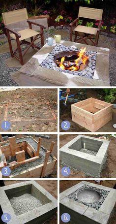tutoriel DIY foyer d'extérieur carré en béton banché