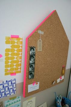 I love the edge of the cork board painted a different color.