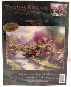 Thomas Kinkade Lamplight Bridge Embellished Cross Stitch Kit Candamar Designs  #CandamarDesigns