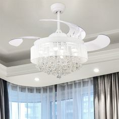 Shop for Foldable 4 Blades LED Ceiling Fan Crystal Chandelier. Get free delivery On EVERYTHING* Overstock - Your Online Ceiling Fans & Accessories Store! Get in rewards with Club O! Ceiling Fan Chandelier, Ceiling Lights, Ceiling Fans, Ceiling Ideas, Girls Ceiling Fan, Master Bedroom Chandelier, Ceiling Draping, Bubble Chandelier, Ceiling Decor