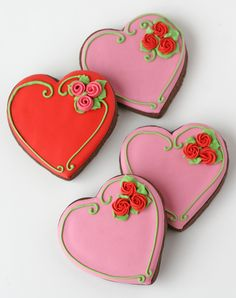 Pretty Valentine's Cookies (and heart cookie box idea) - from Glorious Treats