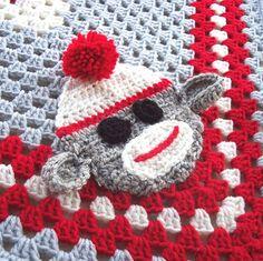 Sock Monkey Nursery  Crochet Baby Blanket  Baby Sock by puddintoes, $60.00