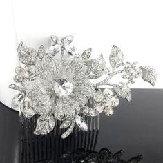 Wedding Bridal Crystal Flower Rhinestone Hair Piece Comb Evening Accessories | eBay