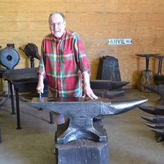 802 Hay Budden anvil , it's the largest one ever found. Richard Postman author of Anvils in America standing with it…