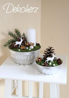 Easy to make WINTER SCENE Bowl painted silver add foam or any filler moss or felt then beads of other shiny ornaments cut out deer candles pine cones branches etc Seasons Winter > Christmas Noel Christmas, Christmas Candles, Christmas Centerpieces, Christmas Is Coming, Xmas Decorations, Christmas And New Year, All Things Christmas, Winter Christmas, Christmas Crafts