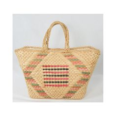Large Woven Straw Tote // Vintage 70s Subtle Geometric Motif // Perfect Summer Bag