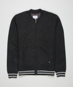 Norse Projects - A bomber style knit featuring boiled merino wool and two stripes at the hem.