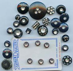 Rhinestones in black plastic vintage buttons