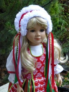 Reserved for Penny:  Yuletide northern European dress for 23 inch my twinn / My Twinn or similar dolls (DOLL NOT INCLUDED) by SewUniqueDolls on Etsy
