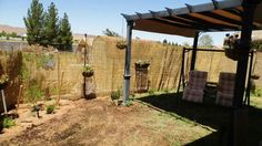 Reed / bamboo fencing over roll of garden wire fence creates a nice privacy screen and fence.