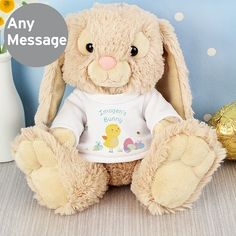 A gorgeously snuggly personalised Easter meadow bunny rabbit soft toy. Personalise the rabbit's Easter themed t-shirt with a name, date of birth or message of your choice. A fantastic personalised Easter gift that makes a great alternative to chocolate. Not suitable for children under 3 years. Measures approx. 21cm from sitting.