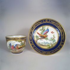 Tableware: A Lovely Sevres Cup & Saucer Painted by Armand, 1764