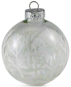 Kurt Adler Set of 4 Silver and White Tree Glass Ball Ornaments - Christmas Ornaments - For The Home - Macy's