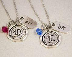 Two Best Friends Necklaces - Wax Seal BFF Charm Necklaces - Personalized Birthstone Jewelry - Custom Monogram Jewelry - Best Friend Gift