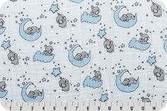 Swaddle Blanket - Elephant Moon and Stars Swaddle - Little One Baby Blue