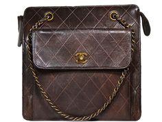 Chanel - Vintage Stitch and Chain Handbag - Brown