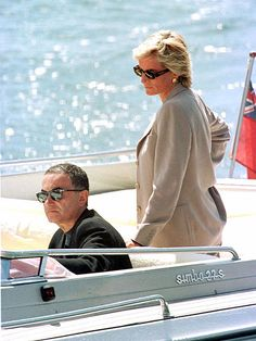 Princess Diana was photographed with her beau, Dodi Fayed, on his father's $32 million yacht off the coast of Sardinia. It would be one of the last photos taken of the couple, who died in a fatal car crash in Paris the following day, Aug. 31, 1997.