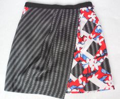 New Peter Pilotto Target Black Red Blue Faux Wrap Skirt Size 6 4th of July  #PeterPilotto #WrapSarong